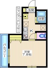 ドエル松ヶ丘1階Fの間取り画像
