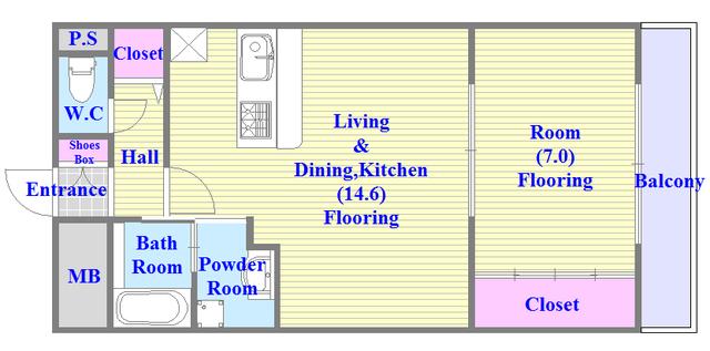 メゾンフレール 人気の全室フローリング。収納スペースも充実しています。
