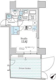 パークアクシス飯田橋レジデンス1階Fの間取り画像