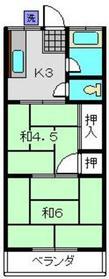 岡村ハイツ2階Fの間取り画像