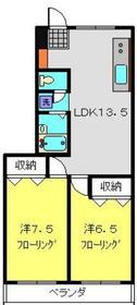 第2加弘コーポ2階Fの間取り画像