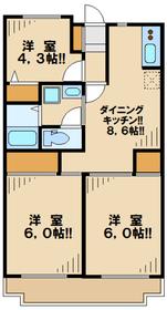 第1かしの木ハイツ3階Fの間取り画像