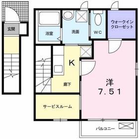 京王八王子駅 バス20分「神社前」徒歩3分2階Fの間取り画像