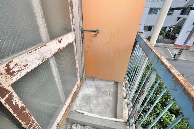 八戸ノ里KS 心地よい風が吹くバルコニー。洗濯機はここに置いてくださいね。
