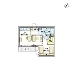 (シニア限定)Casaうのき201階Fの間取り画像