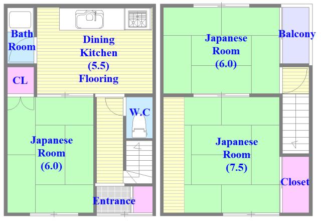 加美北3-12-35貸家 和室のあるゆったりした間取です。一度ご覧ください。