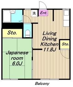エステートサガミI1階Fの間取り画像