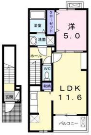 ラソレアードⅡ2階Fの間取り画像