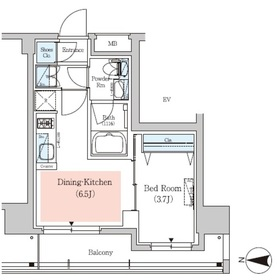 アーバネックス深川住吉Ⅱ3階Fの間取り画像