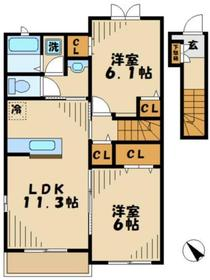 町田駅 バス20分「図師大橋」徒歩2分2階Fの間取り画像