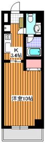 天王坂ヒルズイースト4階Fの間取り画像