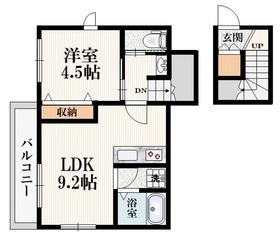 京王八王子駅 徒歩15分2階Fの間取り画像