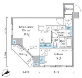 アーバネックス八丁堀2階Fの間取り画像
