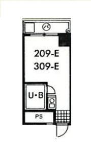 スカイコート市ヶ谷Ⅱ3階Fの間取り画像