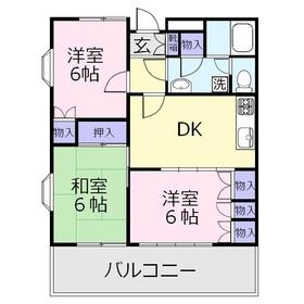 サンライズ鶴瀬1階Fの間取り画像