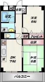 大井町ハウス7階Fの間取り画像