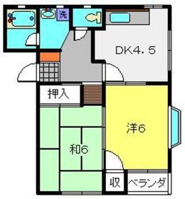 第2岩崎コーポラス1階Fの間取り画像
