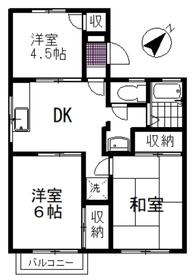 飯野ハイツ2階Fの間取り画像
