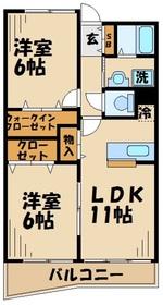 鶴間駅 徒歩10分3階Fの間取り画像