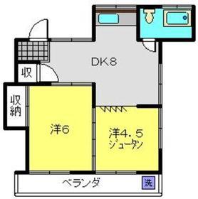三ツ山ハイツ2階Fの間取り画像