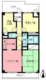 ペアムール三竹1階Fの間取り画像