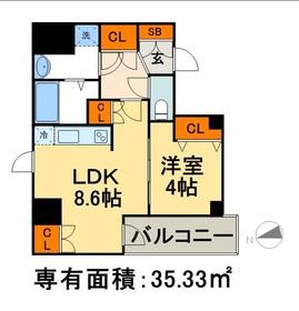 AXIA日本橋茅場町8階Fの間取り画像