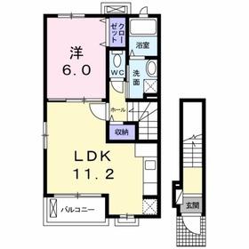 プリムヴェール常盤I2階Fの間取り画像