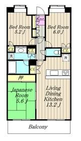 ビーズタワー橋本W棟10階Fの間取り画像