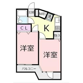 センチュリー鶴瀬西3階Fの間取り画像