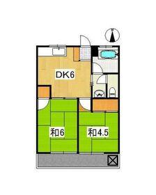 学園パールハイツ2階Fの間取り画像