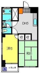 アサヒハイツ3階Fの間取り画像
