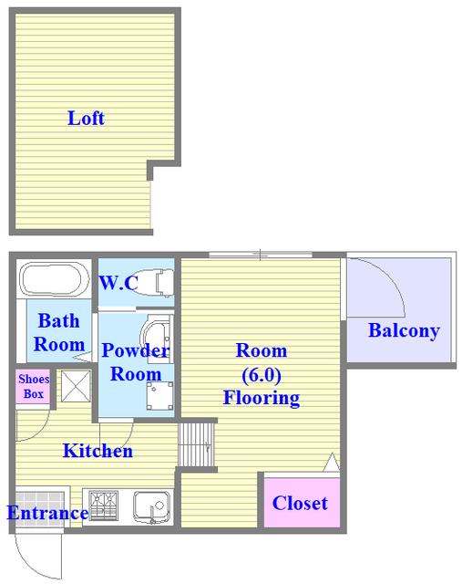 ロフト付きのお部屋。楽しい生活が始まりそうですね。