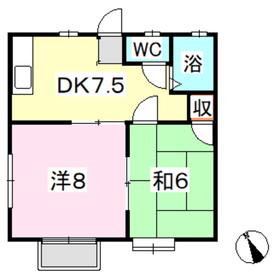 コーポ大島2階Fの間取り画像