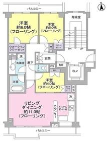 パークハウス二子玉川2階Fの間取り画像