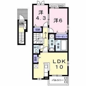 西八王子駅 バス18分「楢原町」徒歩2分2階Fの間取り画像