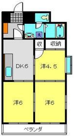 月田マンション8階Fの間取り画像