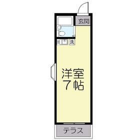 熊野町ハイツ1階Fの間取り画像