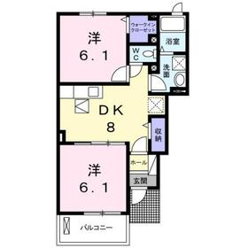 高尾駅 バス15分「川原宿大橋」徒歩6分1階Fの間取り画像