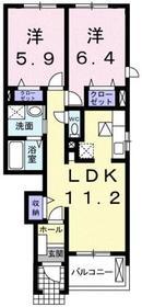 コルティーレ1階Fの間取り画像