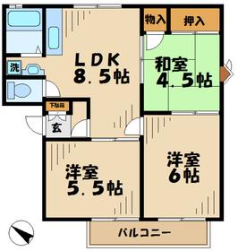 鶴巻温泉駅 徒歩65分3階Fの間取り画像