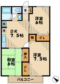 パークサイドハイツ1階Fの間取り画像