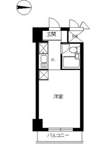 スカイコート鶴見25階Fの間取り画像