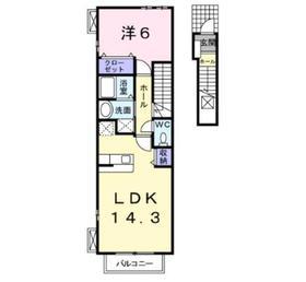 プラシードK2階Fの間取り画像
