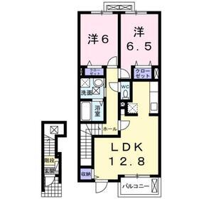 二宮駅 バス9分「鐘藪」徒歩2分2階Fの間取り画像