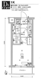スカイコート品川パークサイドⅢ4階Fの間取り画像