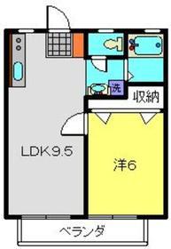ハイツアサノA棟2階Fの間取り画像