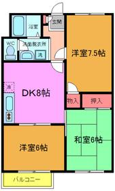 市川駅 バス15分「曽谷春雨橋」徒歩2分2階Fの間取り画像