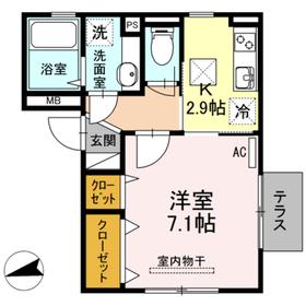 カトル・セゾン1階Fの間取り画像