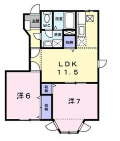モンラルジュ7番館1階Fの間取り画像