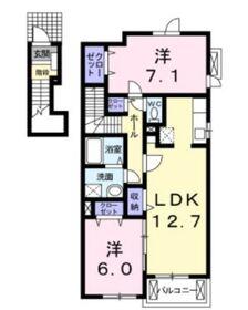 メゾンジュネスⅠ2階Fの間取り画像